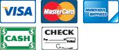 We Accept Visa, Mastercard, American Express, Cash, and Checks